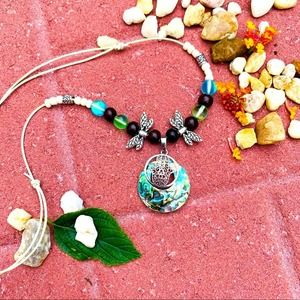 Hamza Dragonfly Abalone Shell Leather Necklace